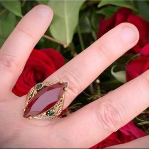 Ruby Emerald RING Size 8.5 Solid 925 Silver/Gold